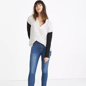 Madewell V neck Sweater in Color Block